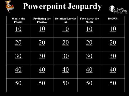 Powerpoint Jeopardy What's the Phase? Predicting the Phase… Rotation/Revolut ion Facts about the Moon BONUS 10 20 30 40 50.