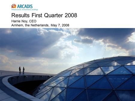 Results First Quarter 2008 Harrie Noy, CEO Arnhem, the Netherlands, May 7, 2008.