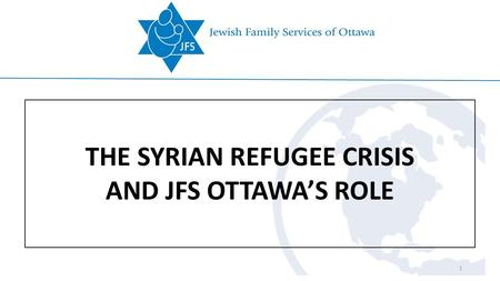 THE SYRIAN REFUGEE CRISIS AND JFS OTTAWA'S ROLE 1.