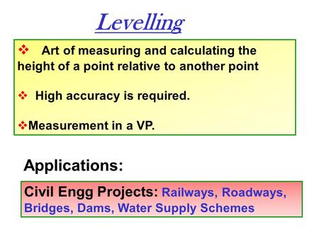 Levelling Applications: