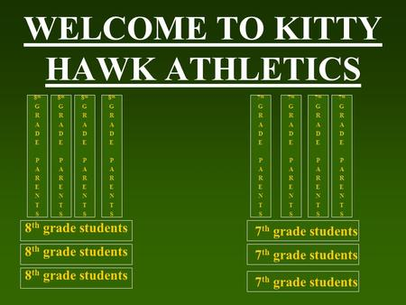 WELCOME TO KITTY HAWK ATHLETICS 7 th grade students 8 th grade students 8 th G R A D E P A R E N T S 8 th G R A D E P A R E N T S 8 th G R A D E P A R.