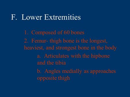 F. Lower Extremities 1. Composed of 60 bones 2. Femur- thigh bone is the longest, heaviest, and strongest bone in the body a. Articulates with the hipbone.
