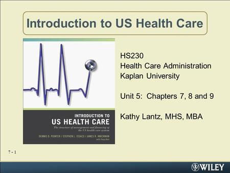 7 - 1 Introduction to US Health Care HS230 Health Care Administration Kaplan University Unit 5: Chapters 7, 8 and 9 Kathy Lantz, MHS, MBA.