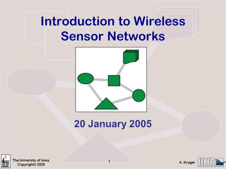 The University of Iowa. Copyright© 2005 A. Kruger 1 Introduction to Wireless Sensor Networks 20 January 2005.