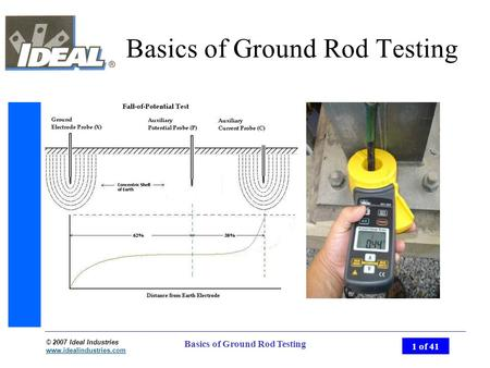 © 2007 Ideal Industries www.idealindustries.com 1 of 41 Basics of Ground Rod Testing.