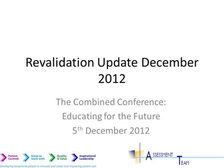 Revalidation Update December 2012 The Combined Conference: Educating for the Future 5 th December 2012.