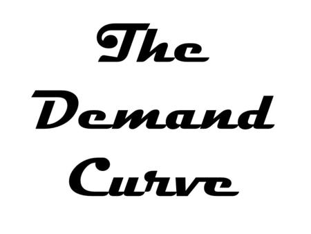 The Demand Curve. The Economics of Demand The Demand Curve Changes in Demand.