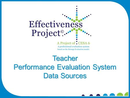 Teacher Performance Evaluation System Data Sources.