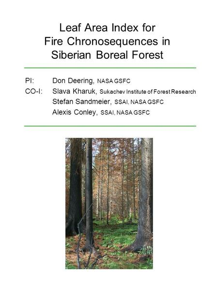 Leaf Area Index for Fire Chronosequences in Siberian Boreal Forest PI: Don Deering, NASA GSFC CO-I: Slava Kharuk, Sukachev Institute of Forest Research.