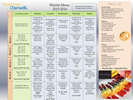 PRICE LIST Middle Menu 2015-2016 All Meals as listed MondayTuesdayWednesdayThursdayFriday Snacks available on Specific Days only Cookies $0.65 Muffins.
