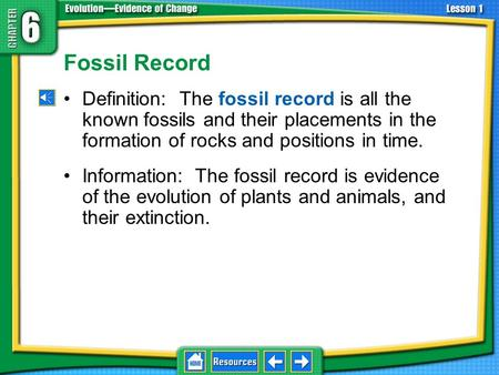Fossil Record Definition: The fossil record is all the known fossils and their placements in the formation of rocks and positions in time. Information: