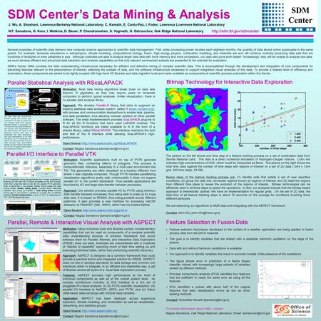 SDM Center's Data Mining & Analysis SDM Center Parallel Statistical Analysis with RScaLAPACK Parallel, Remote & Interactive Visual Analysis with ASPECT.