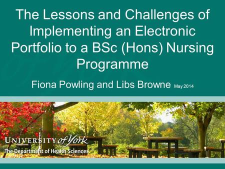 The Lessons and Challenges of Implementing an Electronic Portfolio to a BSc (Hons) Nursing Programme Fiona Powling and Libs Browne May 2014.