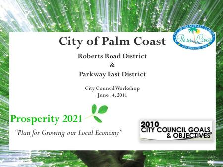 "City of Palm Coast Roberts Road District & Parkway East District City Council Workshop June 14, 2011 Prosperity 2021 ""Plan for Growing our Local Economy"""