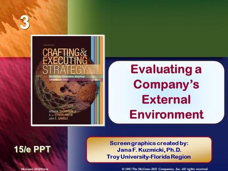 McGraw-Hill/Irwin© 2007 The McGraw-Hill Companies, Inc. All rights reserved. 3 3 Chapter Title 15/e PPT Evaluating a Company's External Environment Screen.