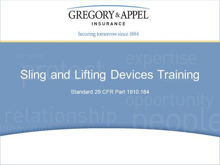 Standard 29 CFR Part 1910.184 Sling and Lifting Devices Training.
