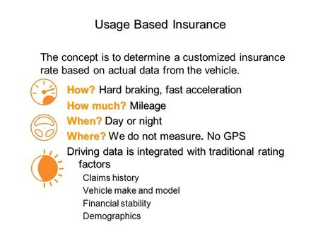 Usage Based Insurance How? Hard braking, fast acceleration How much? Mileage When? Day or night Where? We do not measure. No GPS Driving data is integrated.