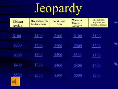 Jeopardy Citizen Action Yanks and Brits The Puritans, Anglicans, and Catholics, Oh my! $100 $200 $300 $400 $500 $100 $200 $300 $400 $500 Whose in Charge.
