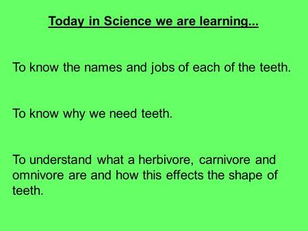 Today in Science we are learning... To know the names and jobs of each of the teeth. To know why we need teeth. To understand what a herbivore, carnivore.