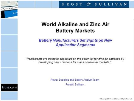 "World Alkaline and Zinc Air Battery Markets Battery Manufacturers Set Sights on New Application Segments ""Participants are trying to capitalize on the."