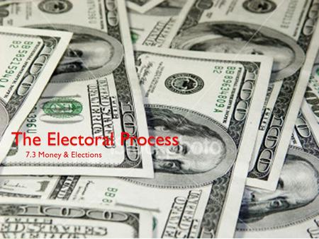 The Electoral Process 7.3 Money & Elections. Focus Your Thoughts... How much money do you think it costs to run for the office of President? Who pays.