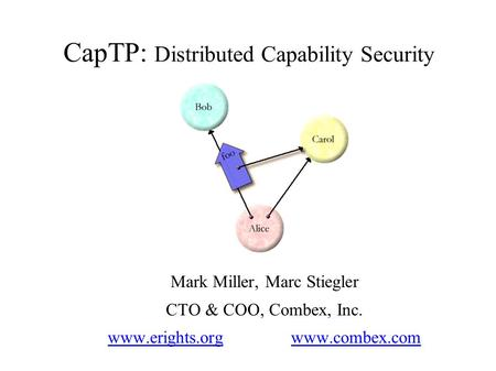 CapTP: Distributed Capability Security Mark Miller, Marc Stiegler CTO & COO, Combex, Inc. www.erights.org www.combex.com.