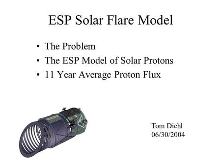 ESP Solar Flare Model The Problem The ESP Model of Solar Protons 11 Year Average Proton Flux Tom Diehl 06/30/2004.