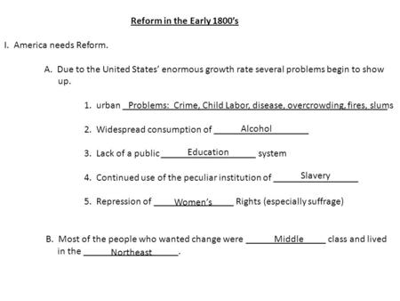 Reform in the Early 1800's I. America needs Reform. A. Due to the United States' enormous growth rate several problems begin to show up. 1. urban _____________________________________________________.
