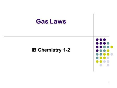 Gas Laws IB Chemistry 1-2 1. Properties of Gases Variable volume and shape Expand to occupy volume available Volume, Pressure, Temperature, and the number.