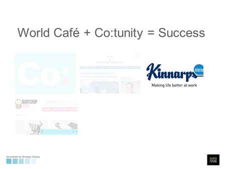World Café + Co:tunity = Success. Set up a space on web and mobile, and coach table reporters prior to WS.