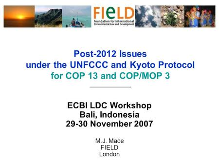Post-2012 Issues under the UNFCCC and Kyoto Protocol for COP 13 and COP/MOP 3 ______________ ECBI LDC Workshop Bali, Indonesia 29-30 November 2007 M.J.