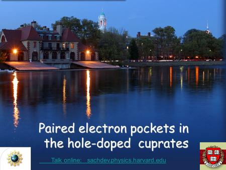 Paired electron pockets in the hole-doped cuprates Talk online: sachdev.physics.harvard.edu Talk online: sachdev.physics.harvard.edu.