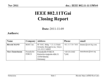 Doc.: IEEE 802.11-11/1585r0 Submission Nov 2011 Hiroshi Mano (ATRD Root Lab)Slide 1 IEEE 802.11TGai Closing Report Date: 2011-11-09 Authors: NameCompanyAddressPhoneemail.