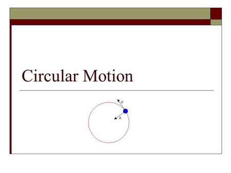 Circular Motion. Uniform Circular Motion  An object that moves in a circle at a constant speed, v.  The magnitude of the velocity remains the same but.