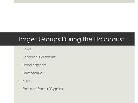 Target Groups During the Holocaust Jews Jehovah's Witnesses Handicapped Homosexuals Poles Sinti and Roma (Gypsies)