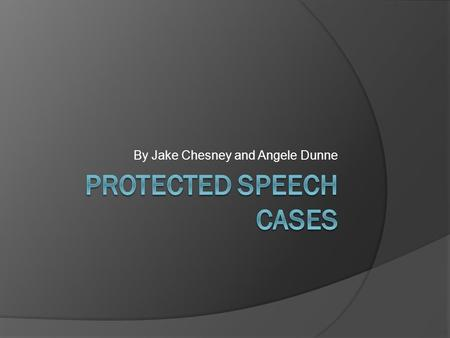 By Jake Chesney and Angele Dunne. The idea of Protected Speech  Protected speech is the idea that a citizen of a government is guaranteed the right to.