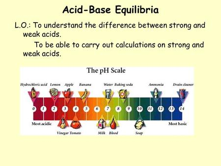 Acid-Base Equilibria L.O.: To understand the difference between strong and weak acids. To be able to carry out calculations on strong and weak acids.
