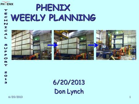 6/20/2013 1 PHENIX WEEKLY PLANNING 6/20/2013 Don Lynch.
