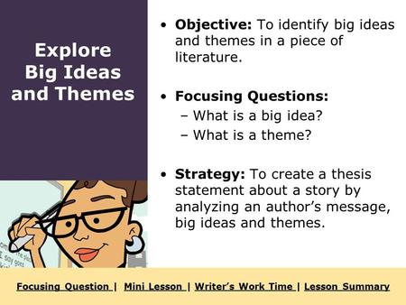 Focusing Question Focusing Question | Mini Lesson | Writer's Work Time | Lesson SummaryMini Lesson Writer's Work Time Lesson Summary Objective: To identify.