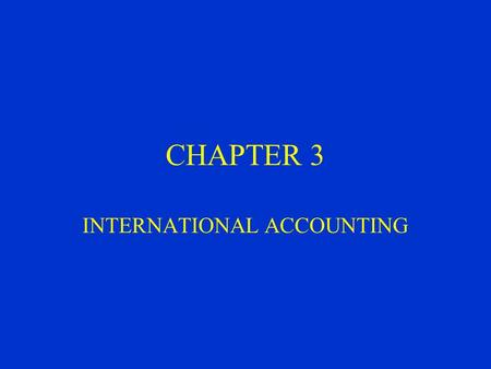 International accounting system
