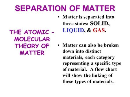SEPARATION OF MATTER SOLID, LIQUID, & GAS.Matter is separated into three states: SOLID, LIQUID, & GAS. Matter can also be broken down into distinct materials,