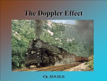 The Doppler Effect Ch. 25.9-25.11. Objectives 1.Describe doppler effect 2.Describe bow waves 3.Describe sonic booms.