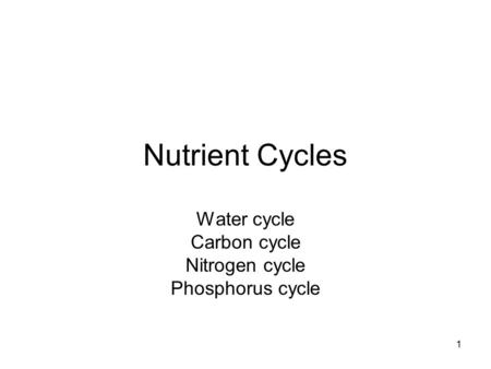 1 Nutrient Cycles Water cycle Carbon cycle Nitrogen cycle Phosphorus cycle.