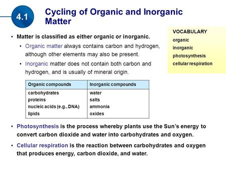 Matter is classified as either organic or inorganic. Organic matter always contains carbon and hydrogen, although other elements may also be present. Inorganic.