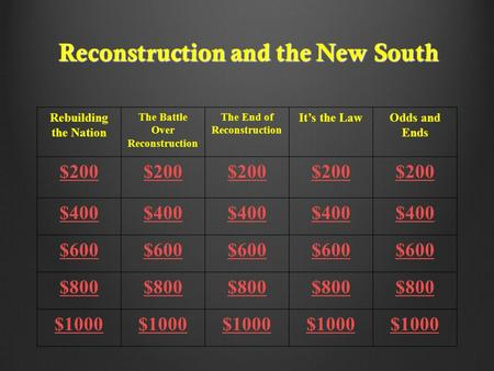 Reconstruction and the New South Rebuilding the Nation The Battle Over Reconstruction The End of Reconstruction It's the LawOdds and Ends $200 $400 $600.