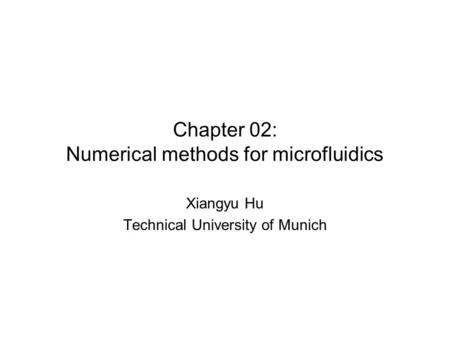 Chapter 02: Numerical methods for microfluidics Xiangyu Hu Technical University of Munich.
