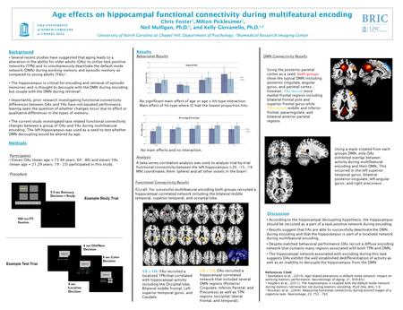 Age effects on hippocampal functional connectivity during multifeatural encoding Chris Foster 1, Milton Picklesimer 1, Neil Mulligan, Ph.D. 1, and Kelly.