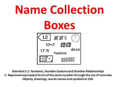 Name Collection Boxes Standard 2.1: Numbers, Number Systems and Number Relationships C. Represent equivalent forms of the same number through the use of.