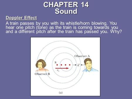 CHAPTER 14 Sound Doppler Effect A train passes by you with its whistle/horn blowing. You hear one pitch (tone) as the train is coming towards you and a.