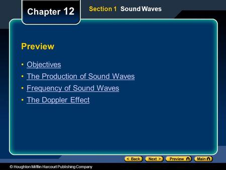 © Houghton Mifflin Harcourt Publishing Company Preview Objectives The Production of Sound Waves Frequency of Sound Waves The Doppler Effect Chapter 12.
